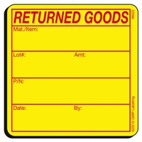 RETURNED GOODS Materials Label M022