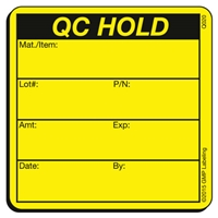 QC HOLD Quality Control Label Q020