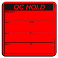 QC HOLD Quality Control Label Label Q027