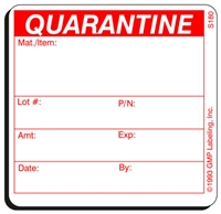 QUARANTINE Status Label S180