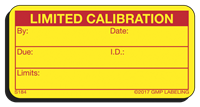 LIMITED CALIBRATION Status Label S184