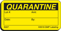 S007 QUARANTINE Status Label
