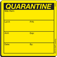 S050 QUARANTINE Status Label